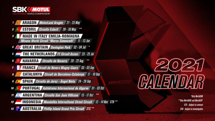 WSBK 2021: новая версия календаря от 17.04